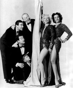 "Photographed with costars George Winslow, Tommy Noonan, Elliot Reid, Charles Coburn, and Jane Russell for ""Gentlemen Prefer Blondes"", 1953"