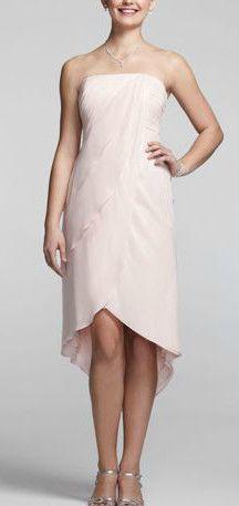 Let your inner goddess shine through in this stunning metallic bridesmaid dress! Style F15426. #davidsbridal #bridesmaids #pinkweddings