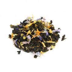 Temple de la lune - Les Saisons du thé.  Thé wulong parfumé  Composition :rhubarbe, groseilleet pétale de mauve.