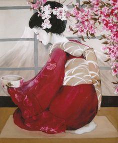 Geisha and Oriental Theme Gallery - Maggie Thompson Geisha Art, Japan Painting, Japanese Geisha, Japan Art, Japanese Culture, Chinese Art, Flower Art, Origami, Illustration