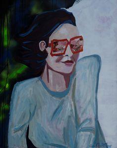"EvaSchlitzer ""Selbstportrait mit rosaroter Brille"", 100 x 80 cm, Acryl auf Leinen, Collage Portrait, My Works, Collage, Pink, Eyeglasses, Linen Fabric, Collages, Headshot Photography, Portrait Paintings"