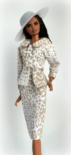 Barbie 2 piece suit in tan and white animal by ChicBarbieDesigns