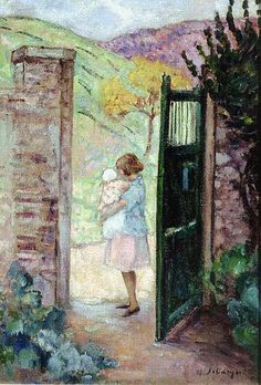 Girl by a Gate ~ Henri Lebasque ~ (French: 1865-1937)