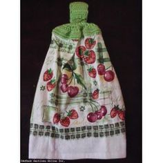 Hand Crochet Top Hand Kitchen Dish Towels NEW - STRAWBERRIES/CHERRIES
