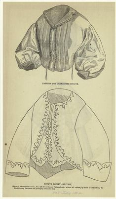 Pattern for chemisette zouave ; Zouave jacket and vest.  July 1862   From The Peterson magazine.