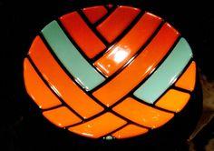 20 cm bowl, fused and slumped spectrum glass