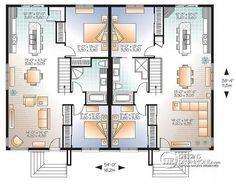 Plan de Rez-de-chaussée Maison jumelée plain-pied, contemporaine/zen ...