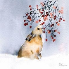Hare Bunny and Red Berries in Snow Xmas Charity Christmas Cards Pack of 5 – Happy Tiere Watercolor Christmas Cards, Christmas Drawing, Christmas Paintings, Watercolor Cards, Christmas Art, Watercolor Paintings, Christmas Berries, Watercolors, Modern Christmas