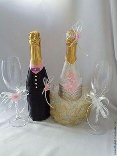 """Купить Свадебное Шампанское и бокалы """"Нежность"""" - белый, свадьба, свадебный салон, аксессуары для свадьбы"""