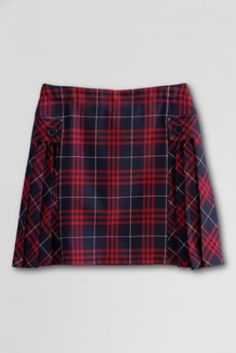 School Uniform Side Pleat Plaid Skort from Lands' End