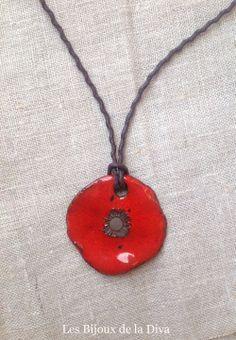 Coquelicot collier céramique LES BIJOUX DE LA DIVA : Collier par ladiva