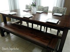 Induce a rustic charm in your home with an amazing Farmhouse Table. Choose from 53 DIY Table plans and find out which one suits your home the best. Farmhouse Table With Bench, Diy Dining Table, Table Bench, Nook Table, Rustic Bench, Kitchen Tables, Farmhouse Chic, Diy Esstisch, Sweet Home