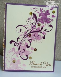 """This card is so FUN to make!  With a single ink pad, Blackberry bliss, we made all these shades of purple!  I say """"we"""" because this was one of my June stamp club cards. http://www.sweetstamper.com/2014/06/blackberry-bliss.html"""