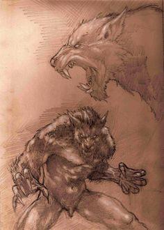 Ferocious werewolf by ArtisticDane on DeviantArt Fantasy Creatures, Mythical Creatures, Werewolf Art, Werewolf Origin, Vampires And Werewolves, World Of Darkness, Creatures Of The Night, Creature Design, Fantasy Characters