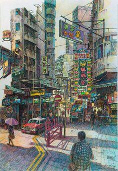 Jordan Hong Kong by LotharZhou on DeviantArt Las Vegas Hotels, Japon Tokyo, Hong Kong Art, Cityscape Art, A Level Art, Urban Sketching, French Quarter, Deviantart, Concept Art