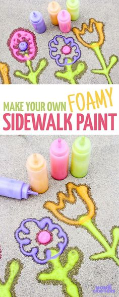 Make super easy foamy sidewalk paint - an awesome liquid sidewalk chalk recipe that's perfect for cold weather too! This outdoor art activity for kids is super easy and inexpensive, can be done in the winter, can be used to paint snow, can be carried over