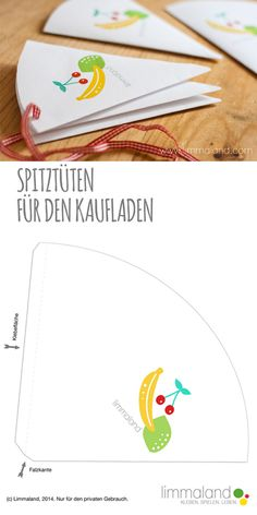 Kinderküchen und Kaufladen – Bastelset (PDF) Free Crafting Template: Making Paper Bags for the Store // Free Printable: Paper bags for a kids shop Cute Diy Crafts, Diy Crafts For Kids, Children Crafts, Craft Kits, Diy Kits, Diy Paper, Paper Crafts, Free Paper, Childrens Kitchens