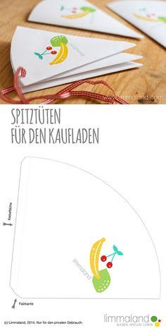 Kostenlose Bastelvorlage: Papiertüten für den Kaufladen basteln // Free Printable: Paper bags for a kids shop