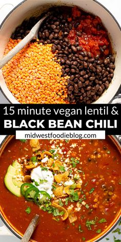 I'm here to let you in on a little secret…healthy food can also be hearty and satisfying! TRY THIS VEGAN BLACK BEAN CHILI! It's loaded with over of your daily fiber in each servi Chili Recipes, Veggie Recipes, Whole Food Recipes, Cooking Recipes, Cooking Tips, Amish Recipes, Dutch Recipes, Vegan Dinner Recipes, Vegetarian Recipes