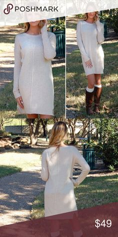 🆕Cream Off White Sweater Dress I love this flattering fit of this dress! It's soft and can be worn by itself as a dress or with leggings! Runs true to size. Model is wearing size small. Paperback Boutique Dresses Long Sleeve