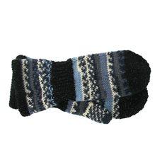 Votter strikket i Raggi melert med felter i svart refleksgarn