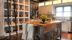 LOVE this kitchen. In my mind, the side of the kitchen that you can't see has a crazy huge double oven stove. Home and bakery ideas. Kitchen Units, Kitchen Reno, Kitchen Dining, Kitchen Island, Kitchen Ideas, Extreme Makeover Home Edition, Tiny House Cabin, Tiny Houses, Entryway Stairs