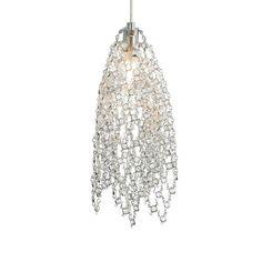 Mademoiselle No. 1 1-Light Satin Nickel Clear Crystal Halogen Hanging Mini Pendant
