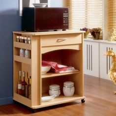 Nexera 597 Microwave Cart This Microwave Cart from Nexera is available in a natural maple finish. Microwave Cart Allows you to have more space on your Microwave Cart, Microwave In Kitchen, Tidy Kitchen, Kitchen Storage, Kitchen Ideas, Microwave Storage, Microwave Stand, Kitchen Pantry, Kitchen Organization