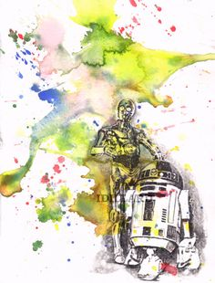 Star Wars Art R2D2 and C3PO Watercolor Painting - Star Wars Fine Art print 8 X 10 in.