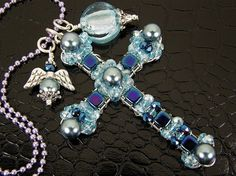 Blue Spiritual Beaded Cross Necklace with Angel by BonzerBeads, $30.00