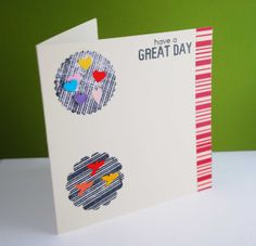 """Card making, """"have a great day"""" stamp, handmade card Have A Great Day, Card Making, Crafting, Stamp, Table, Handmade, Cards, Craft, Artesanato"""