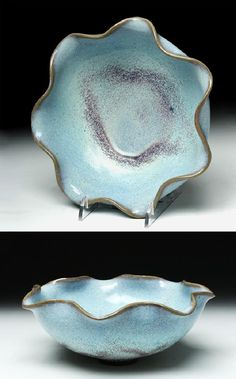 Superb Chinese Jin / Yuan Dynasty Purple-Splash Bowl. East Asia, China, Jin to Yuan Dynasty, ca. 12th to 13th century CE. A stunning Jun-Ware / Junyao ceramic bowl with a scalloped rim, the surfaces decorated with luscious sky blue glaze with added purple splashes to the interior and exterior, all upon a short and petite unglazed foot.
