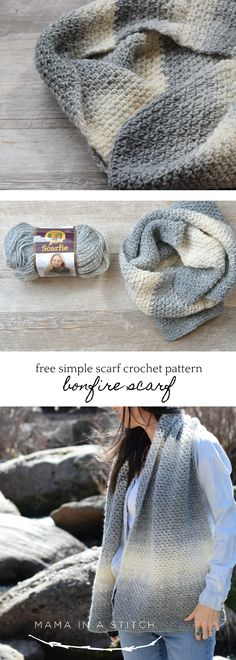 Bonfire Crocheted Scarf Free Pattern via @MamaInAStitch