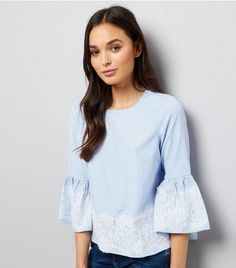 Blue Lace Trim Bardot Neck Top  | New Look