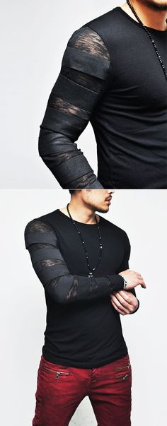 Tops :: Tees : Runway Edge Elastic Bandage Strap-Tee 144 - Mens Fashion Clothing For An Attractive Guy Look Look Fashion, Fashion Outfits, Fashion Tips, Fashion Trends, Fashion Clothes, Edgy Mens Fashion, Men Clothes, Fashion Photo, Fashion Ideas