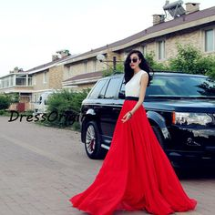 red Maxi skirt red floorlength skirt Double by DressOriginal, $59.80