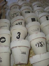 A Shabby Moment in Time: Chalk painted flower pots.