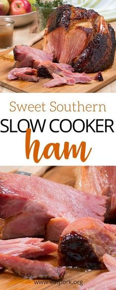 """Let's spice that easy slow cooker ham up a little with BOURBON!) Check out this super simple ham recipe that includes some of our favorites like dark brown sugar Kentucky bourbon honey and more! Best news? Only 7 ingredie Slow Cooker Ham Recipes, Crockpot Dishes, Crock Pot Slow Cooker, Crock Pot Cooking, Pork Dishes, Pork Recipes, Cooking Recipes, Crock Pot Ham, Slow Cooker Smoked Ham"