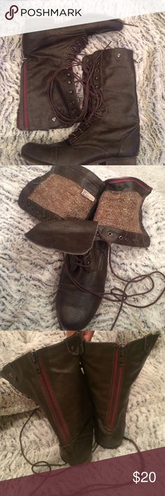 Brown Combat Style Boots Olsenboye... Knit material inside to keep you warm ..  worn only a handful of times at most.. Trendy red lined zipper back! Just in time for fall 🍂🍁🎃 Olsenboye Shoes Combat & Moto Boots