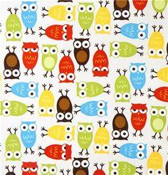 Robert Kaufman premium laminate fabric colourful owls