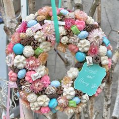 Tavaszi kopogtató Sweet Collection by DIFIORI Modern Christmas, Pine Cones, Diy And Crafts, Christmas Wreaths, Easter, Spring, Creative, Flowers, Summer