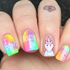 """""""I don't believe in humans""""  anyone who knows me knows my love for unicorns is just life so when I saw @nailartlover07 pop a unicorn design out I had to recreate it with my own spin ... I LOVE THEM!  .. I used the beautiful @funlacquer - 'mystical' unicorn skin in a bottle as a base for my sassy lil lady & @sechenails quick dry top coat (my new absolute favourite) cuticle kept beautiful with @myblisskiss #simplypure hydrating oil ....  I'm dedicating these to a fellow unicorn lover & my best…"""