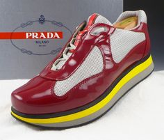 PRADA sz 7 PATENT LEATHER DOUBLE SOLE SNEAKERS 4E2352 MENS RED fits US 8 $480 #PRADA #FashionSneakers #distinctivedeals