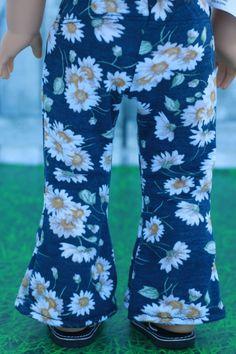 18 Doll Clothes Boho Blue Daisy Print FLARE PANTS by Closet4Chloe