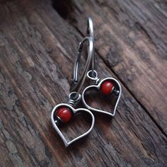 ROMANTIC DATE, red coral, sterling silver, silver heart, hearts, romantic earrings, coral earrings by pieceofmysoulArt on Etsy