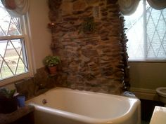 Our stone wall/shower
