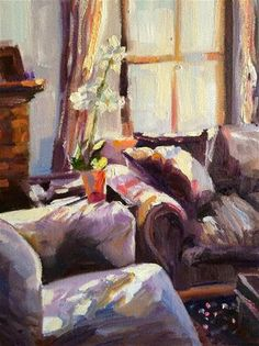 "◇ Artful Interiors ◇ paintings of beautiful rooms - ""TANIA SE SITKAMER"" - Cecilia Rosslee"