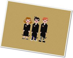 Pixel People - Harry, Ron, and Hermione - PDF Cross-stitch PATTERN. $4.00, via Etsy.