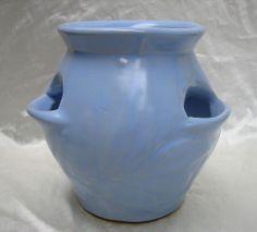 Nelson McCoy Pottery Vase / Strawberry Pot Planter in BLUE glaze!