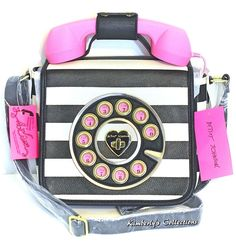 Betsey Johnson Call Me Baby Black & Pink Phone Crossbody Bag Purse Handset NWT  #BetseyJohnson #phones #handbags #purses